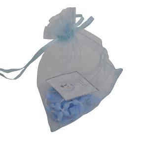 saco organza + terço azul