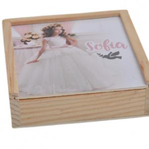 caixa madeira + terço (azul ou rosa)