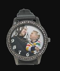 relógio de pulso preto com foto