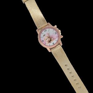 relógio de pulso dourado com foto