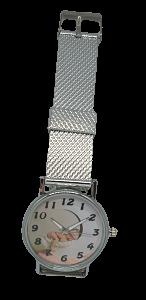 relógio de pulso prateado com foto