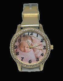 relógio de pulso com foto – dourado com brilhantes